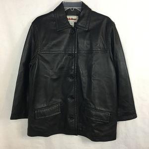 LL Bean Women sz SP Black Button Down Leather Coat